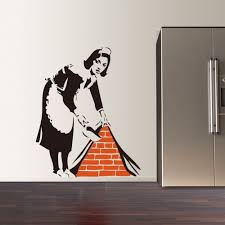 liberty bedroom wall mural:  new banksy french maid vinyl wall decal sticker street art graffiti kitchen wall sticker removable