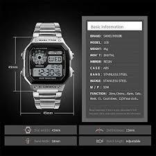 <b>Mens Digital</b> Watch Stainless Steel Square Dial Quartz <b>Wristwatches</b> ...