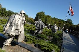 u s  department of defense  photo essay     the korean war veterans memorial depicts a formation of  statues of servicemembers maneuvering across a