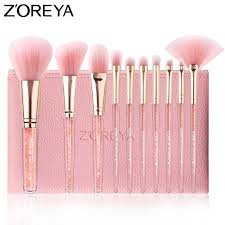 ZOREYA <b>10PCS Pink</b> Crystal <b>Makeup</b> Brushes <b>Foundation</b> ...