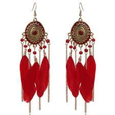 Dangle Drop Earrings Link Long Tassel <b>Feather Bohemia</b> Hook ...