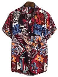<b>Floral</b> Lapel Summer Short Sleeve Linen Thin Ethnic Style <b>Men's</b> ...