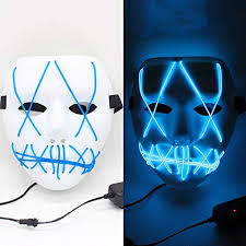 Halloween Glowing Masks LED Neon Light Horror ... - Amazon.com