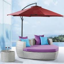 decorating cool modern outdoor pool chaise lounge design idea in cream with purple cushion with purple blue glass top modern office
