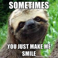 Sometimes you just make me smile - Sarcastic Sloth | Meme Generator via Relatably.com