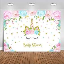 Mehofoto Floral Unicorn Baby Shower Backdrop ... - Amazon.com