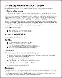 veterinary receptionist cv sample   curriculum vitae builderveterinary receptionist cv sample