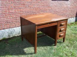 vintage small wood executive desk and swivel office chair antique office table