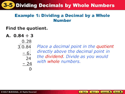 Dividing Decimals by Whole Numbers Example    Dividing a Decimal by a SlidePlayer