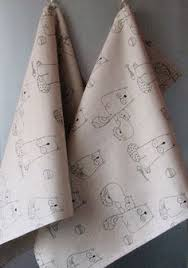 <b>Linen</b> Cotton Dish Towels Fish Fishbone Cat <b>Black</b> Tea Towels set of 2