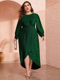 <b>Plus Lantern</b> Sleeve Wrap Dip Hem Glitter Dress   SHEIN USA