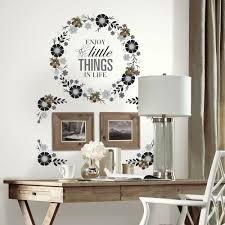 x plush wall:  in x  in floral wreath quote with embellishments  piece