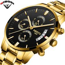2019 NIBOSI Gold Quartz Watch <b>Top Brand Luxury Men</b> Watches ...