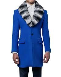 Men's Wool <b>Royal Blue</b> Top Coat with Detachable Chinchilla Fur ...