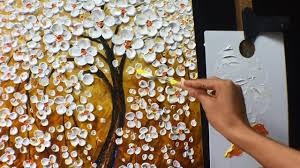 Thick <b>Paint</b> White <b>Flowers</b> Acrylic <b>Painting</b> - YouTube