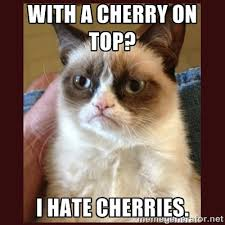 with a cherry on top? i hate cherries. - Tard the Grumpy Cat ... via Relatably.com