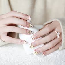 Metal Flower Fake Nail with Glue <b>Fashion Full Cover False</b> Nails ...