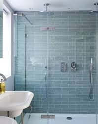 blue bathroom tile ideas: looking for shower ideas check out this double shower with pale blue tiles for inspiration