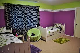 green black mesmerizing: bedroom lime and purple bedroom wall theme with black pattern curtains combined by double grey