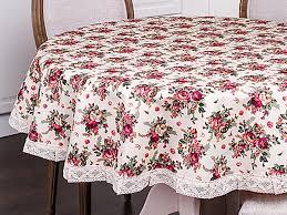"""Скатерть с кружевом """"Розовый сад"""", 160 см. - купить со скидкой и ..."""