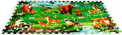 Играем вместе <b>Коврик</b>-<b>пазл</b> Кто живет в лесу 126 х 63 см ...