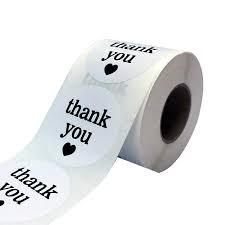 <b>500Pcs</b> White Semi Gloss <b>Thank</b> You Stickers with500 Round ...