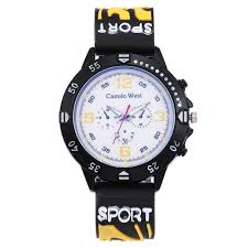 Fashion Trend <b>Outdoor Sports Watch</b> Silicone Strap Blue Glass Dial ...