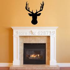 cabin decor lodge sled: free shipping wall stickers deer head vinyl wall decal deer head decor for your lodge