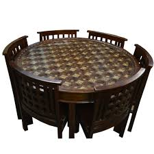 Fitted Dining Room Furniture Brass Fitted Round Shaped Wooden Dining Table With Six Chairs