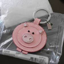 NWT COACH <b>Patent</b> Leather Pig Pink Key chain Keyring KEY FOB ...