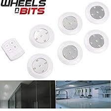 6pc 10cm <b>Wireless Remote Control LED</b> Light Spotlight Battery ...