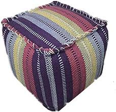 <b>Black</b> Friday 100 Percent Cotton <b>Handmade Pouffe</b>, Colorful Floor ...
