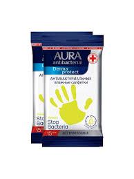 <b>Влажные салфетки</b> Аура Лимон антибактериальные ...