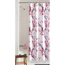 fabric shower curtains mainstays pink blossom fabric shower curtain
