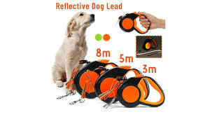 3/5/8m Neon <b>Reflective Retractable</b> Dog Lead Extending Pet Leash ...