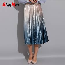 <b>Gradient Skirt</b> Pleated Long <b>Skirt</b> Woman <b>Elegant</b> High Waist A Line ...