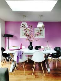 dining room wall decorating ideas: wall design ideas purple wall color white dining table black accents