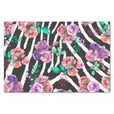 Boho Safari Pink <b>Floral Zebra</b> Watercolor Pattern Tissue Paper ...