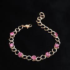 Women <b>Trendy</b> Bracelet Gold Color Link Chain Pink Austrian Crystal ...