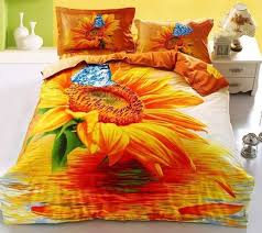 3D <b>Sunflower</b> and Blue <b>Butterfly Printed</b> Cotton Luxury 4-Piece ...