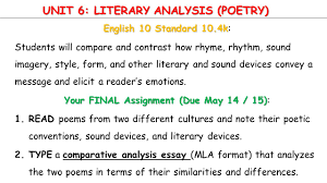 unit literary analysis poetry english standard k unit 6 literary analysis poetry english 10 standard 10 4k english 10 standard
