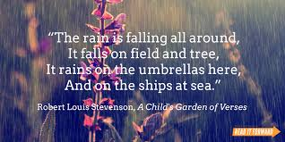 famous literary quotes about rain it forward robert lous stevenson rain