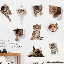 Cartoon Cats 3D Wall Sticker <b>Toilet Sticker Animal</b> Vinyl Decals Art ...