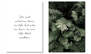 <b>Green Plant</b> Leaf Canvas Wall <b>Poster Nordic</b> Motivational Quotes ...