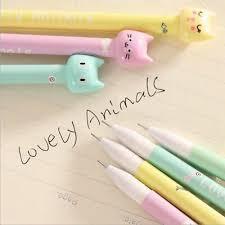4pcs <b>Kawaii</b> Kitsch Cat Head Gel Pen <b>Cartoon Korean Cute</b> Pencil ...