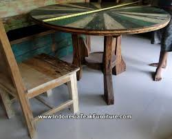 bt2 2 round table reclaimed boat wood furniture bali bt2 8 rustic wood furniture