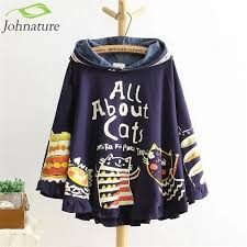Johnature <b>2019 New</b> Autumn And Winter Hoodies Hooded Loose ...