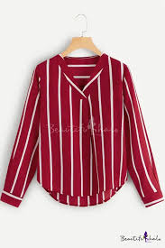 <b>Fashion</b> Striped Print <b>V</b>-<b>Neck Long</b> Sleeve Leisure Blouse ...