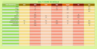 daily schedule templates for excel smartsheet chores schedule template