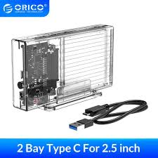 <b>ORICO</b> 2 Bay <b>2.5</b>'' HDD Case With Raid Function <b>SATA</b> to USB C ...